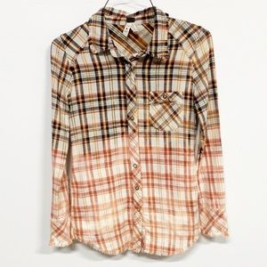 Free People | Ombré Pearl Snap Flannel Button Down